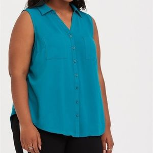 Torrid 3X Teal Sleeveless Button Georgette Top